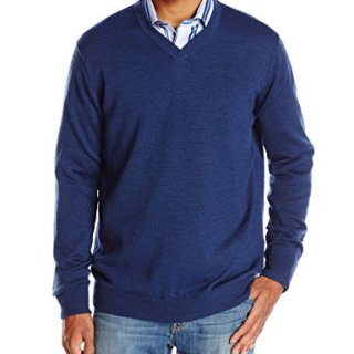 Robert Graham Men's Newcastle V-Neck Sweater, Navy, XX-Large
