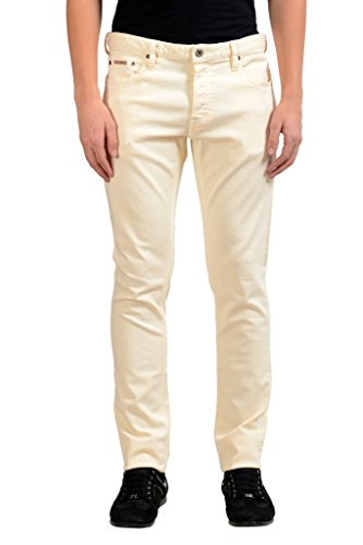 Just Cavalli Men's Off White Stretch Slim Jeans US 31 IT 47;
