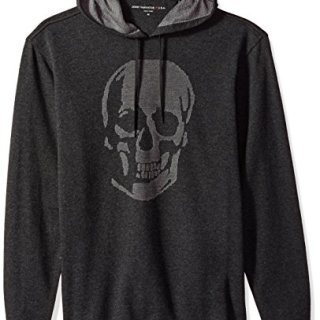 John Varvatos Men's Long Sleeved Pullover Hoody, Charcoal Heather, Small