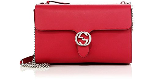 GUCCI Petunia Pink Leather Logo Chain Shoulder Bag Silver hardware New