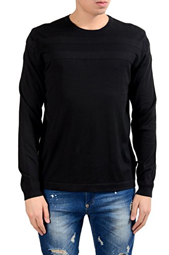 97ddfb5dc52 Hugo Boss Tlymouth Men s Black Crewneck Slim Fit Sweater US L IT 52 ...