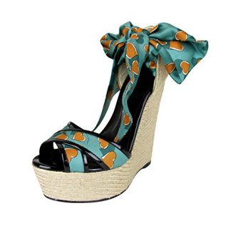 Gucci Women's Turquoise Heartbeat Satin Carolina Wedge Sandals (9.5 US/39.5 G)