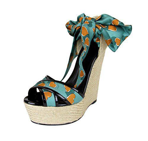 Gucci Women's Turquoise Heartbeat Satin Carolina Wedge Sandals (9.5 US/39.5 G)