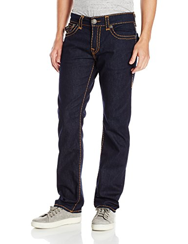 True Religion Men's Ricky Relaxed Straight Super T with Flaps, Body Rinse, 34