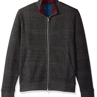 Robert Graham Men's Hyde Park Long Sleeve Knit Full Zip, Heather Charcoal, 2XLARGE