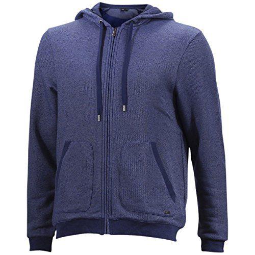 Hugo Boss French Terry Long Sleeve Dark Blue Hooded Sweatshirt Jacket Sz: L