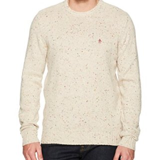 Original Penguin Men's Long Sleeve NEP Crew Sweater, Oatmeal, Medium