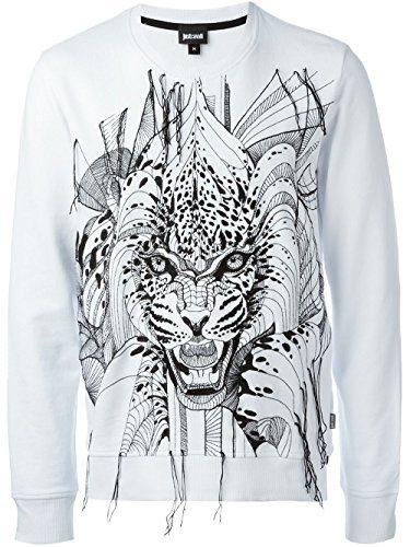 Just Cavalli Embroidered Leopard Sweatshirt, White (3XL)
