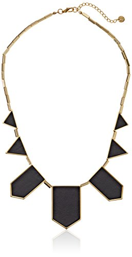 """House of Harlow 14k Yellow Gold-Plated and Black Leather Station Necklace, 18"""""""
