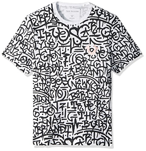 True Religion Men's Graffiti Graphic Tee, White with Space Mauve Print, XXXL