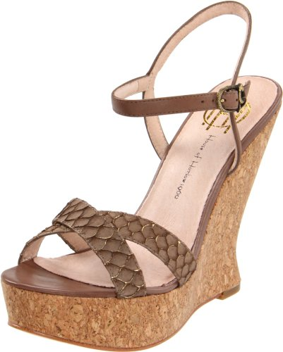 House of Harlow Women's Pat Wedge Sandal, Brown, 10 M US