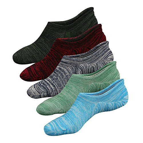 Mens No Show Socks, Colorful Low Cut Casual Socks for Women Non-Slip 5 Pairs