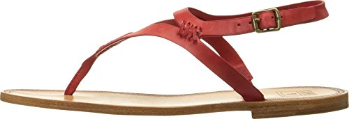 FRYE Women's Ruth Whipstitch Flat Sandal, Red, 7.5 M US
