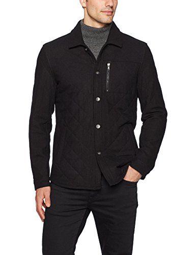 John Varvatos Men's Quilted CPO Jacket, Black, Small