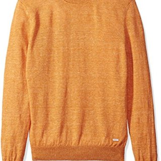 BOSS Orange Men's Melange Linen Crew Neck Sweater, Ameberglow, Small