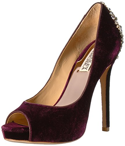 Badgley Mischka Women's Kiara Pump, Wine Velvet, 8 Medium US
