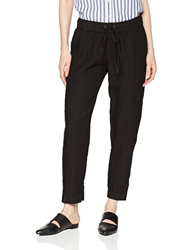 Enza Costa Women's Linen Easy Pant, Black, 3