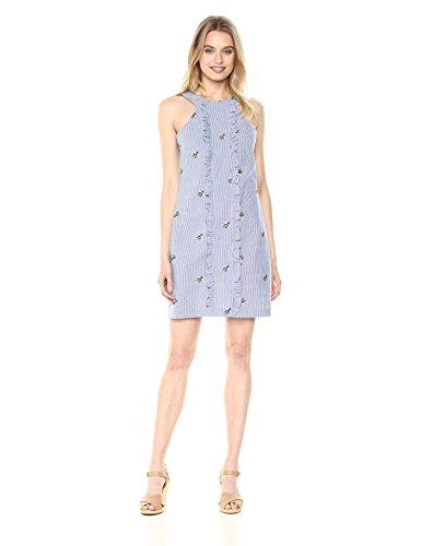 Trina Trina Turk Women's Ruffled Sleeveless Dress, Chambray, 6
