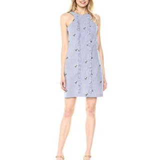 Trina Trina Turk Women's Ruffled Sleeveless Dress, Chambray, 6