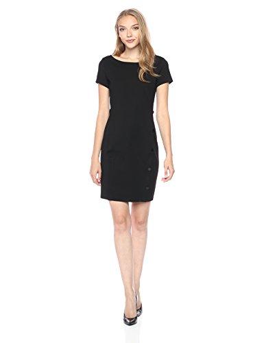 A|X Armani Exchange Women's Short Sleeve Buttoned Bodycon Dress, Black, L