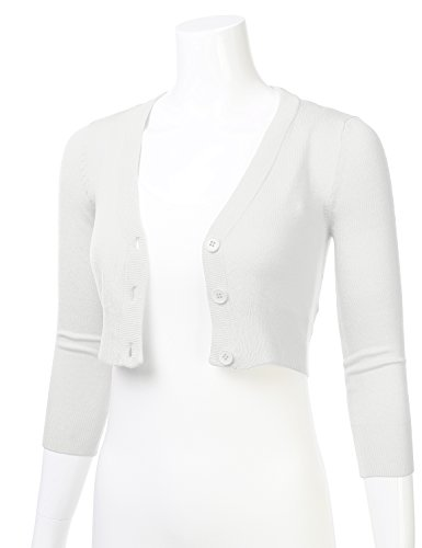 59858000396 Home Shop Women Clothing Sweaters FLORIA Women Solid Button Down 3/4 Sleeve  Cropped Bolero Cardigan Sweater White M
