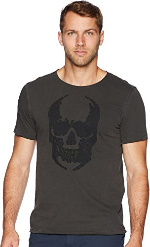 John Varvatos Star USA Men's Applique Skull Graphic Tee Coal Medium