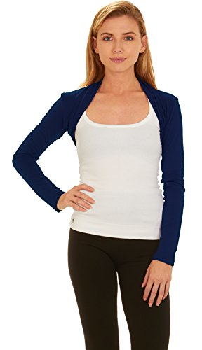 Red Hanger Women Bolero Long Sleeve Shrug Crop Top, Navy-XL