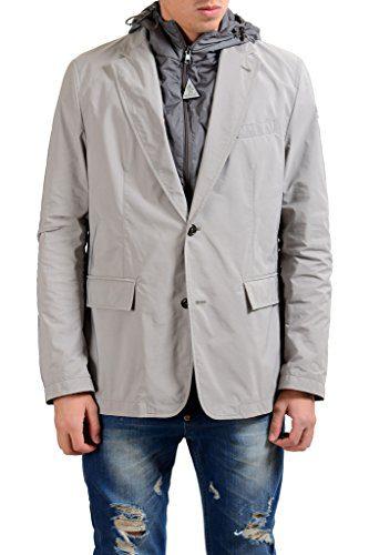 Moncler Men's Gray Two Button Blazer Sport Coat With Detachable Hood US 40 IT 50;