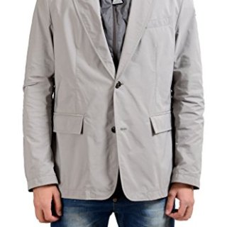 Moncler Men's Gray Two Button Blazer Sport Coat With Detachable Hood US 40 IT 50;