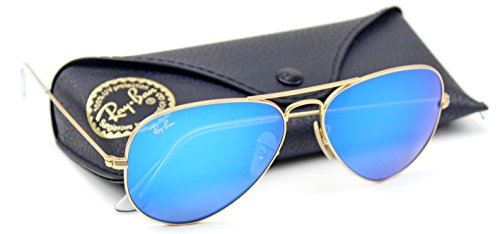 Ray-Ban Unisex Aviator Sunglasses Mirrored (Matte Gold Frame/Blue Mirror Lens 112/17, 62)