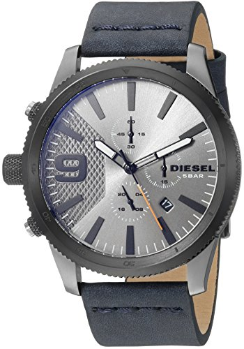 Diesel Men's 'Rasp Chrono 46' Quartz Stainless Steel and Leather Casual Watch, Color Blue (Model: DZ4456)