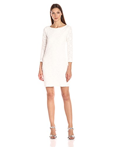 A|X Armani Exchange Women's Textured Long Sleeve Dress, Cristallo, Large