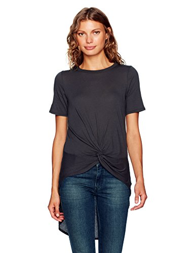 Enza Costa Women's Short Sleeve Knot Hi-Lo T-Shirt, Iron, S
