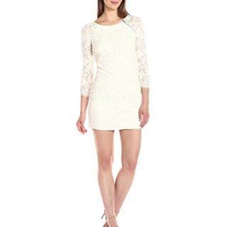 A|X Armani Exchange Women's Zip Detail Lace Scallop Above The Knee Woven Dress, White, 2