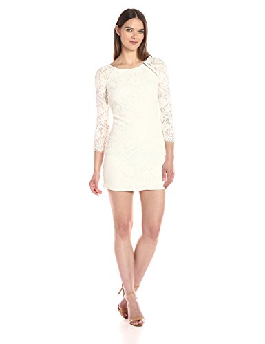 A|X Armani Exchange Women's Zip Detail Lace Scallop Above The Knee Woven Dress, White, 2