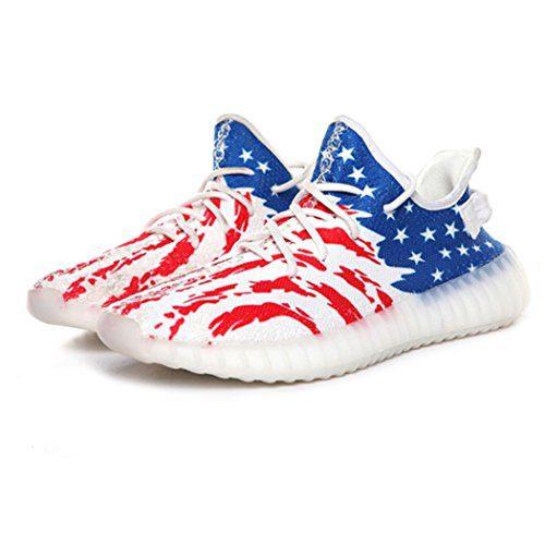 men's sneaker boost 350 women running shoe sports mens running shoes spor running men women's sneaker, Red Blue White, 43/12 B(M) US Women / 9 D(M) US Men