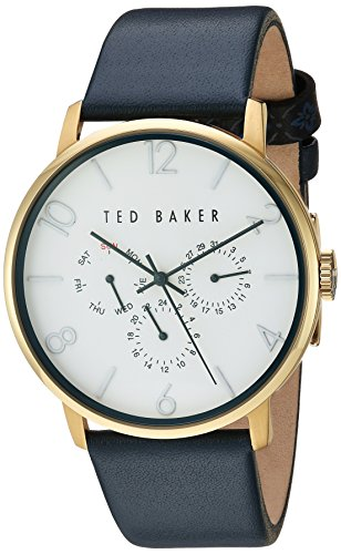 Ted Baker Men's 'Smart Casual' Quartz Stainless Steel and Leather Dress Watch, Color:Blue