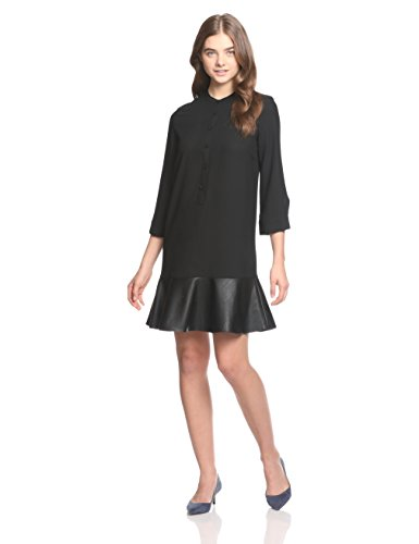 A|X Armani Exchange Women's 3/4 Sleeve Dress with Eco Leather, Black, 4