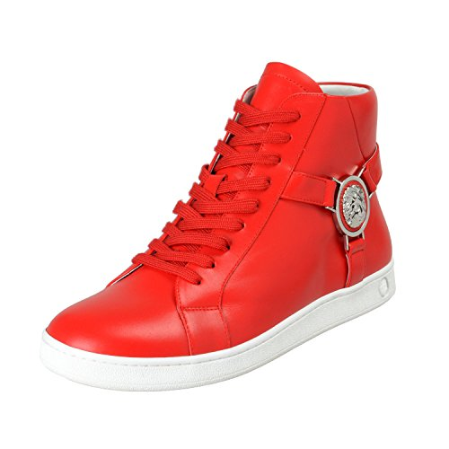 Versace Versus Men's Red Leather Hi Top Fashion Sneakers Shoes Sz US 7 IT 40