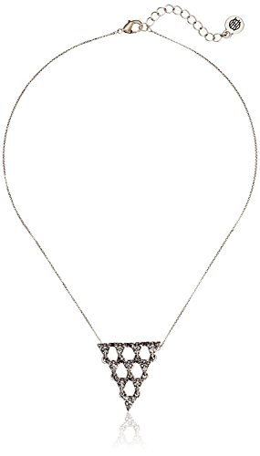House of Harlow Tambora Silvertone Clear Crystal Triangle Necklace, 15 + 3 Extender