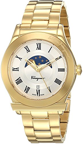 Salvatore Ferragamo gold IP case, silver dial, gold IP bracelet