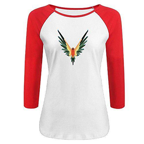 qingjin Womens Parrot Logo Logan Paul 3/4 Sleeve Raglan Baseball T-Shirt