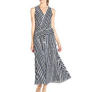 A|X Armani Exchange Women's Wrap Printed Maxi Woven Dress, Stripe, 2