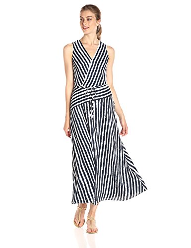 A|X Armani Exchange Women's Wrap Printed Maxi Woven Dress, Stripe, 2