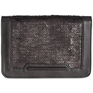 French Connection Womens Vanessa Sequined Shoulder Handbag Black Small