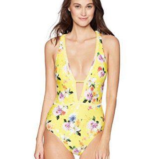 Nanette Lepore Women's Front Keyhole One Piece Swimsuit, Lemon, Large