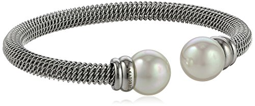 Majorica 12mm White Pearls on Silver Stainless Steel Bangle Bracelet