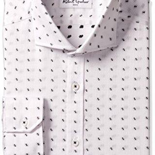 "Robert Graham Men's Regular Fit Solid Motif Spread Collar Dress Shirt, White/Black, 16"" Neck 34""-35"" Sleeve"