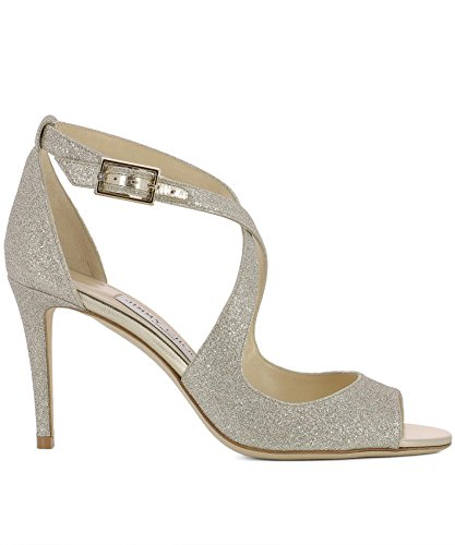 JIMMY CHOO Women's Emily85dgzplatinumice Silver Leather Sandals