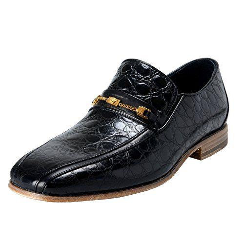 Versace Men's Black Croc Print Leather Loafers Shoes US 12 IT 45;